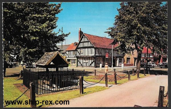 Evesham - The Stocks and Ye Olde Red Horse, postcard